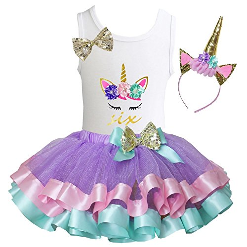 Kirei Sui Girls Lavender Pastel Satin Tutu Birthday Unicorn L Six