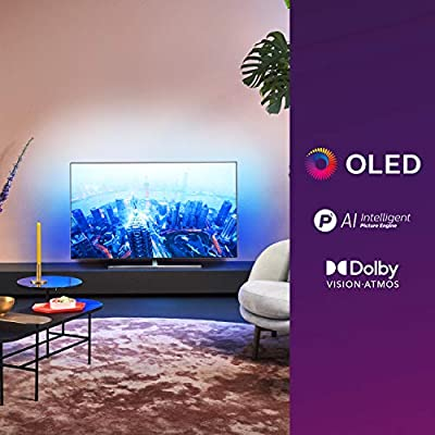 Philips 55OLED855/12 - Televisor Smart TV OLED 4K UHD, 55 pulgadas, Android TV, Ambilight 3 lados, HDR10+, P5 Perfect Picture Engine con IA, Dolby Vision/Atmos, Compatible con Alexa, color gris: Amazon.es: Electrónica