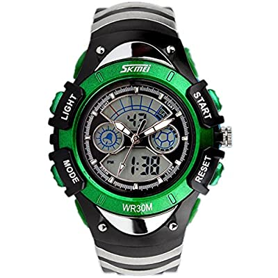 ALPS Kids LED Digital Boys Girls Waterproof Watches (Green)