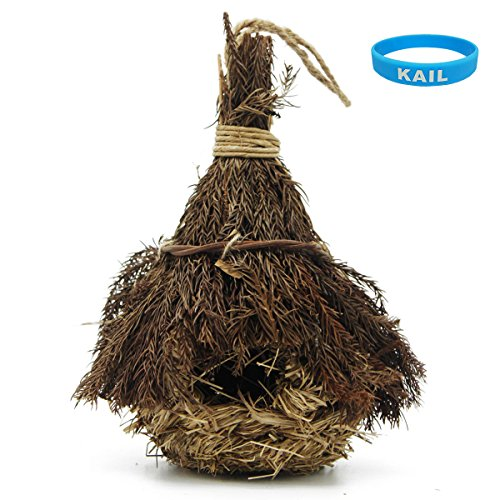 KAIL Natural Birdhouse bird houses,Wild Bird Nest,Hanging Grass Weave Rope Pocket with Roof Pine (Pine-S)