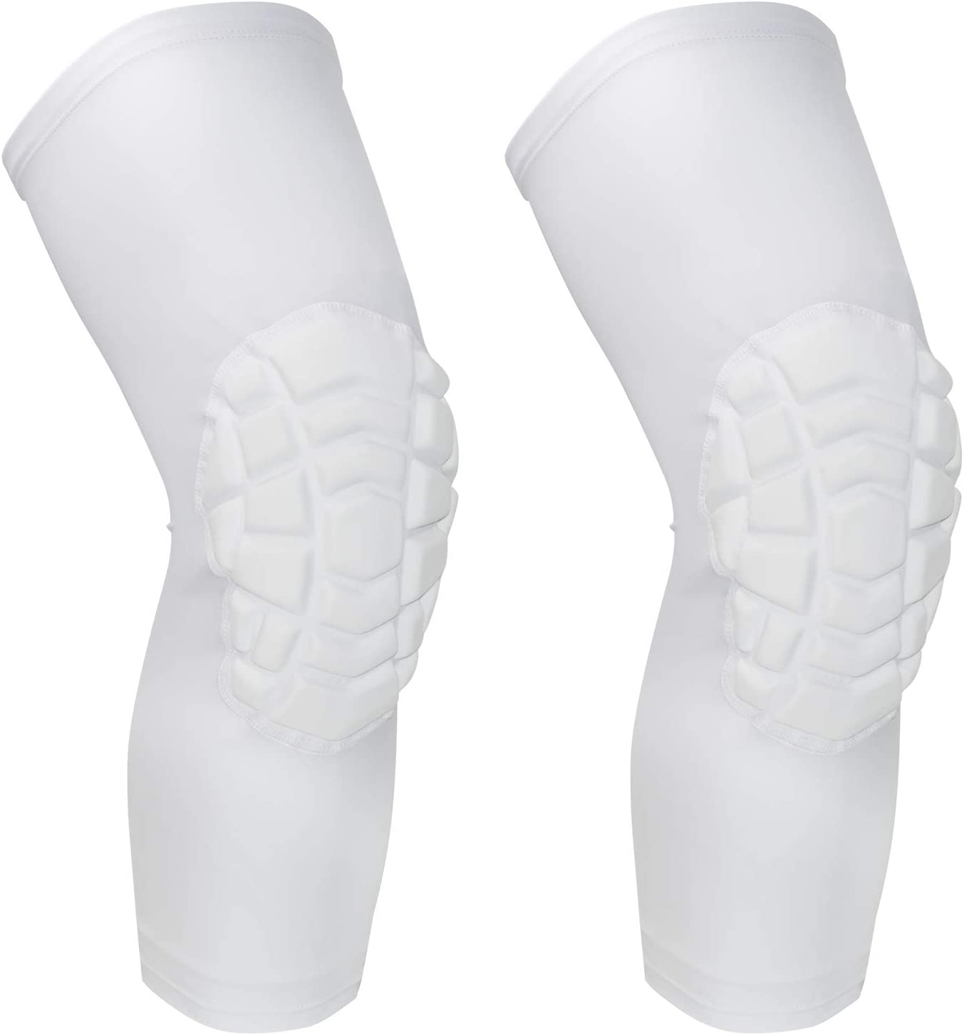 O-Best 2パック(1組)膝用保護パッド 通気性のある着圧ウェア ハニカム構造 衝撃に強い 滑り止め加工 バスケットボール用膝当て 脚用プロテクターギア 白い-B Small