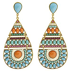 Arabella Luxuries Gold Plated The Vivacious Drop & Dangle Earring, Push Back