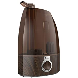 TaoTronics TT-AH002 Ultrasonic Cool Mist Humidifiers for Home Baby Bedroom with Filter, Two 360° Rotatable Nozzles, Classic Dial Knob Control-Coffee (3.5L/0.92 Gallon, US 110V), Brown