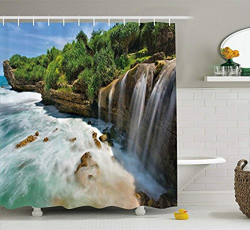 Eurag Nature Shower Curtain by, Jogan Beach Waterfall View in Java Indonesia Tropical Seashore Scenery, Fabric Bathroom Decor Set with Hooks, 69W X 72L Inches by Eurag