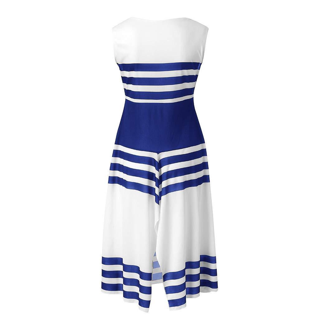 Bibao Womens O-Neck Casual Stripe Dress Beach A-Line Loose Summer Holiday Dress Black, L2