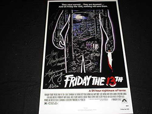 Jason Voorhees Makeup (ADRIENNE KING TOM SAVINI HARRY MANFREDINI 3x Cast Signed Friday the 13th 11x17 Movie Poster Jason)