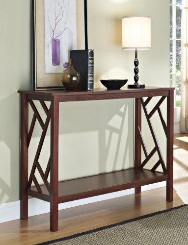 Espresso Abstract Design Occasional Console Sofa Table Bookshelf