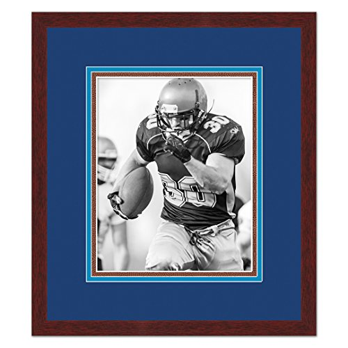 - San Diego Chargers Brown Wood Frame for a 5x7 Photo with a Triple Mat - Navy Blue , Powder Blue, Football Textured Mats