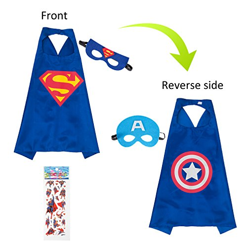 MIJOYEE Superhero Capes and Mask Costumes for Kids,Cartoon Dress up (Superman and Captain America - Boys) for $<!--$11.99-->