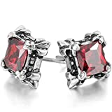 MOWOM Silver Tone Black Red Stainless Steel Stud Earrings CZ Dragon Claw Square