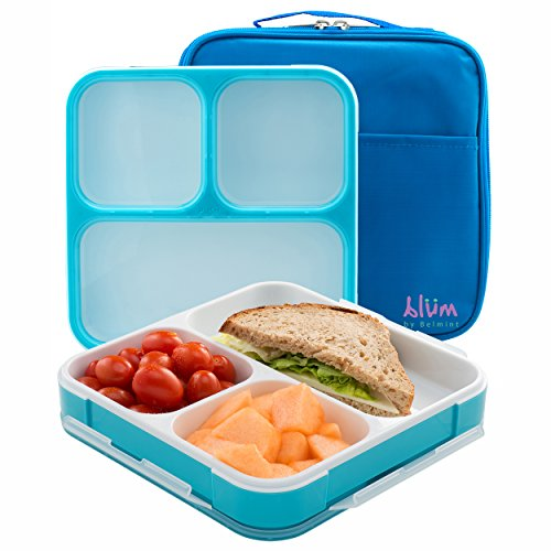 Bento Lunch Box with Insulated Bag - Slim Design Fits in Bag or Large Purse - 3 Leakproof Compartments for Easy...