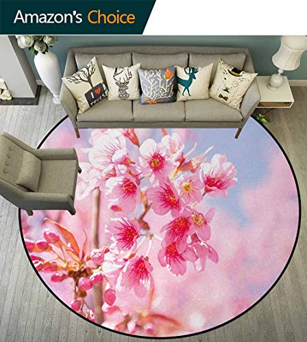 Floral Non-Slip Area Rug Pad Round,Sakura Blossom Branches Flower Essence Fragrance Nature Inspired Picture Protect Floors While Securing Rug Making Vacuuming Round-63 Inch,Light Pink Purplegrey