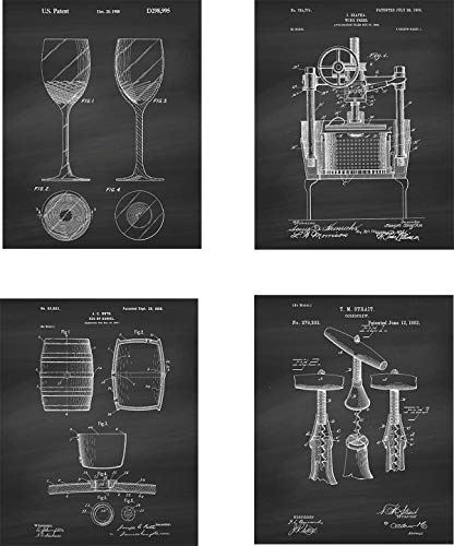 Wine Patent Wall Art Prints – set of Four (8×10) Unframed – wall art decor for wine lovers