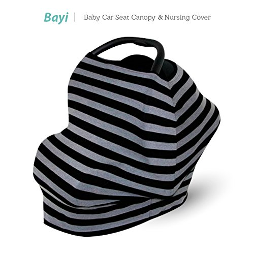 Baby Car Seat Cover Multi - Use Infant Covers Shopping Cart High Chair Stroller - Best Multi-Use For Baby Stretchy Fabric (Black/Grey Stripe)