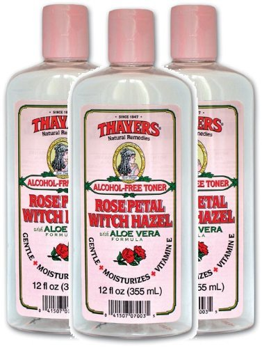 Thayers Alcohol-free Rose Petal Witch Hazel with Aloe Vera, 12 oz (Pack of 3)