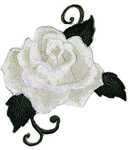 c707fec060b0 Amazon.com  Custom White Single Rose Embroidered Iron on Sew patch ...