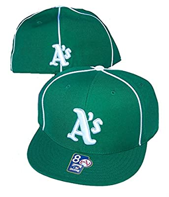 Oakland Athletics A's Fitted Size 8 MLB Authentic Cooperstown Collection Flat Bill Hat Cap - Green & White