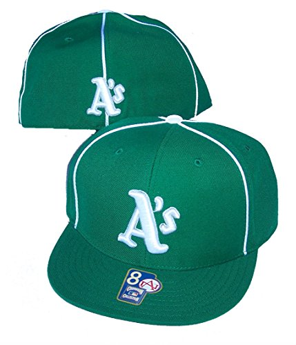 Oakland Athletics A s Fitted Size 8 MLB Authentic Cooperstown Collection  Flat Bill Hat Cap - Green   White d5addfa490a