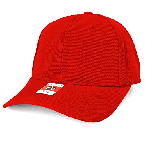 American Needle Wool Hat - American Needle Fitted Blank Wool Blend Hat - Red - 7-3/4