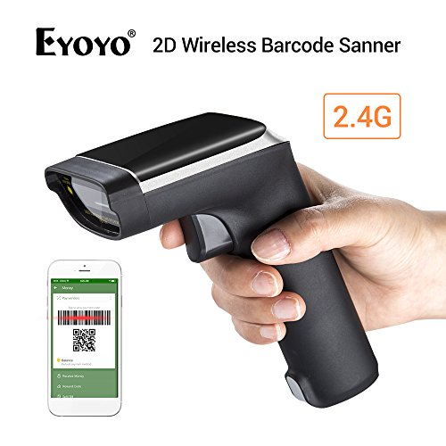 Eyoyo Escáner de Códigos de Barras, 2.4G Inalámbrica 2D QR Bluetooth Lector Código de Barras 2 en 1 Wireless & con Cable...