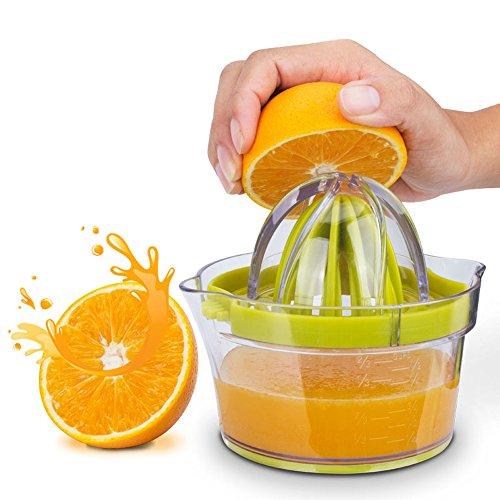 Citrus Juicer(2018 UPGRADE 4 in 1), Elindio Orange Manual Hand Squeezer Space Saving Kitchen Juicer with Garlic Grater, Anti-Slip Non-Marking Silicone Base, Multi-Reamers for Filter Egg white by Elindio