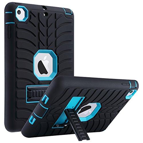 ULAK iPad Mini 2 Case, iPad Mini Case, iPad Mini 3 Case, iPad Case with Stand Shock-Absorption Three Layer Protective Case for Apple iPad Mini, Mini 2, Mini 3, Mini Retina, Aqua Blue/Black