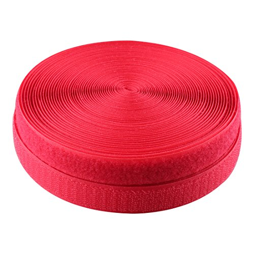 0.78 Inch (20mm) width Sew on Hook and Loop, 10M (10.9 Yards) (Red)