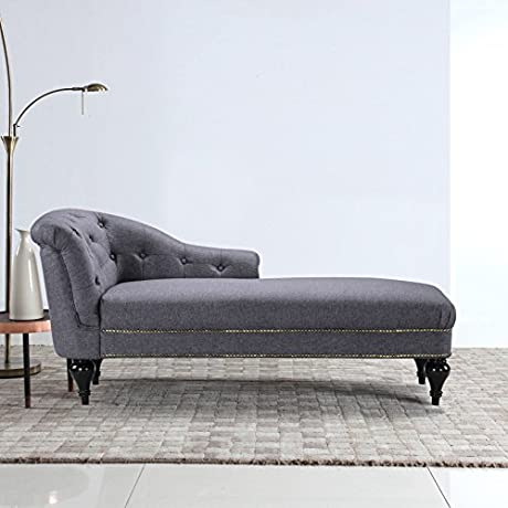 Large Classic Tufted Button Linen Fabric Living Room Chaise Lounge With Nailhead Trim Light Grey