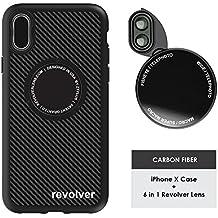 Ztylus Designer Revolver M Series Camera Kit: 6 in 1 Lens with Case for iPhone X, iPhone Lens Kit - 2x Telephoto Lens, Macro, Super Macro Lens, Wide Angle Lens (Carbon Fiber)