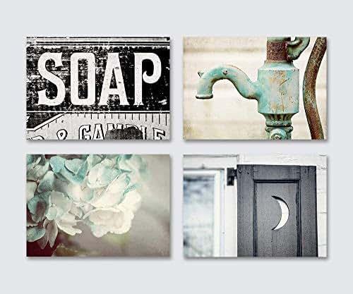 Amazon.com: Farmhouse Bathroom Decor Set of 4 Unframed 5x7 ...