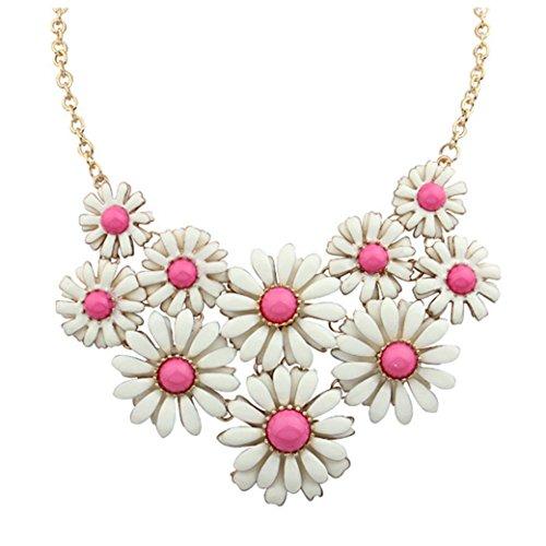Inkach Womens Daisy Flowers Collar Chain Statement Pendant Short Choker Necklace (Hot Pink)