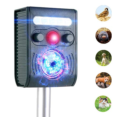 JIA LE Ultrasonic Animal Repeller, Outdoor Solar Powered Weatherproof Repeller, Motion Activated with Flashing LED Light and Sound Effectively Scares Away Cats, Dogs, Squirrels, Moles (Grass Green)