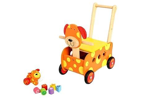 Carro de juguete para empujar con diseño de perro