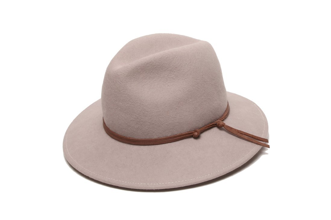 ale by Alessandra Women's Aurora Classic Adjustable Wool Felt Fedora Hat With Leather Trim and UPF 50+, Stone, Adjustable Head Size
