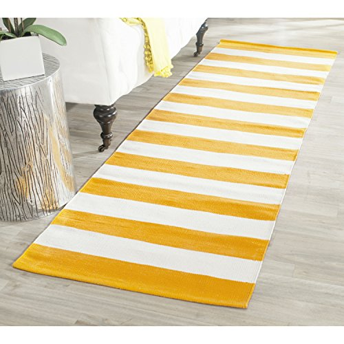 Safavieh Montauk Collection MTK712A Handmade Flatweave Yellow and Ivory Cotton Runner (2'3 x 7′)