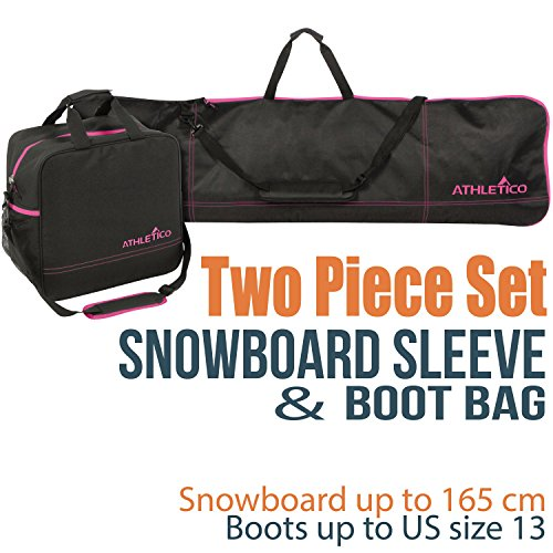 Athletico Two-Piece Snowboard and Boot Bag Combo | Store & Transport Snowboard Up to 165 cm and Boots Up to Size 13 | Includes 1 Snowboard Bag & 1 Boot Bag (Black with Pink Trim) (Snowboard Pink Bag)