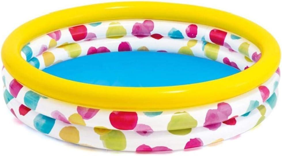 OKOUNOKO Piscinas Desmontables con Depuradora, Piscina Inflable, Frutas Coloridas, Piscina sobre El Suelo, Piscina Infantil, Piscina Autoportante, 130Cm