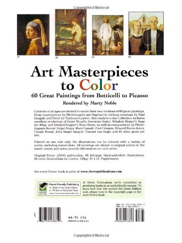Art Masterpieces To Color 60 Great Paintings From Botticelli Picasso Dover Coloring Book Marty Noble 8601300295954 Amazon Books