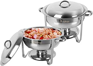 Chafing Dish 2 Pack Stainless Steel Round Buffet Chafer Full Size 5 Quart Buffet Catering Warmer Set w/Food and Water Pan/Lid/Solid Stand/Fuel Holder Kitchen Wedding Party Banquet, Silver