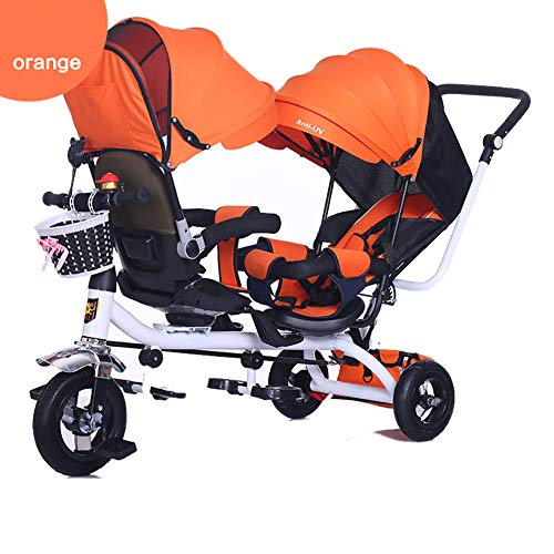 Baby Stroller YXGH@ Children's Tricycle Twin Trolley Double Baby Carriage with Awning,Front Seat can be rotated and Rear Seat Reclining