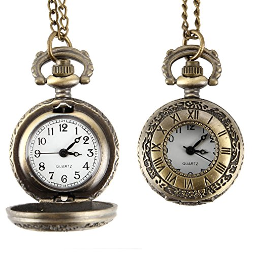 Fashion Vintage Pocket Watch Alloy Roman Number Dual Time Display Clock Necklace Chain Watches Birthday Gifts LL@17 copper
