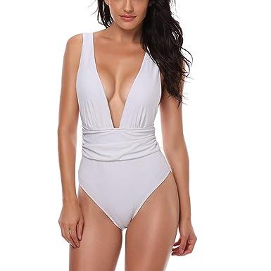 Bikini para Mujer Cuello En V Sin Espalda Traje Tamaños Cómodos De ...