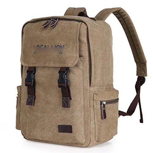 Segeltuch-Schulter-Beutel-Spielraum-Rucksack-Art- Und Weiseschultasche,Brown Khaki