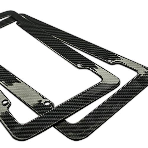 Motorup America Auto License Plate Frame Cover 2-Pack - Fits Select Vehicles Car Truck Van SUV - Carbon Fiber