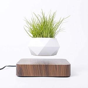 DRESSPLUS New Magnetic Levitation Air Bonsai Pot,Creative Mini Sky-Garden Rotating Flower Pot Planter, for Home & Garden Desk Decoration and Gifts (Dark Wooden Color)