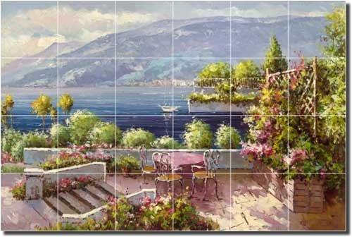Lakeside Terrace - Seascape Courtyard Ceramic Tile Mural 17