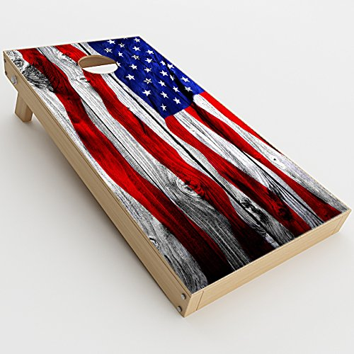 Skin Decal Vinyl Wrap for Cornhole Game Board Bag Toss / American Flag on Wood