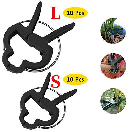 Bili-silly Green Gentle Gardening Plant Support Clips Tool Flower Lever Loop Gripper Supporting Stems Climbing Vines for Gardening, Gentle Plant & Flower Clamps (10Large&10Small)