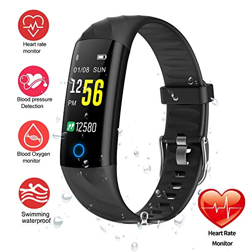 Monitor Rate Heart Pro Watch (Fitness Tracker, Smart Band Bracelet Watch Activity Tracker with Heart Rate Monitor IP68 Waterproof Fitness Watch Step Counter Calories Counter Sleep Pedometer Watch for Men Women Kids (Black))