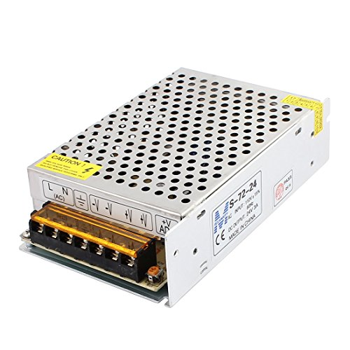 uxcell Universal 72W AC 110V to DC 24V 3A Switching Power Supply for LED Strip